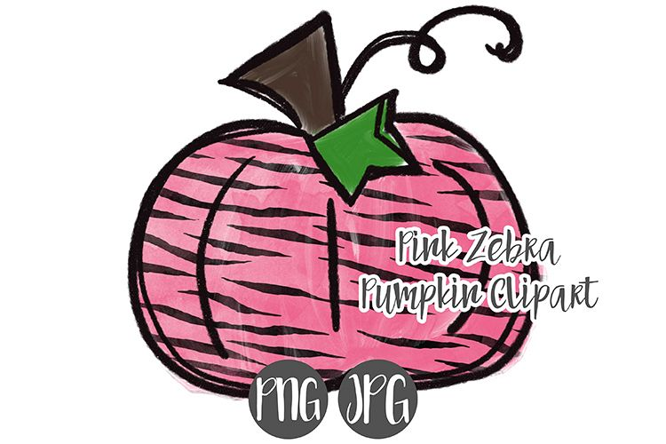 Hand Drawn Pink Zebra Print Pumpkin Clipart.