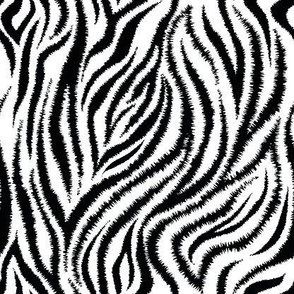 Zebra Stripes Seamless Pattern Clipart Image.