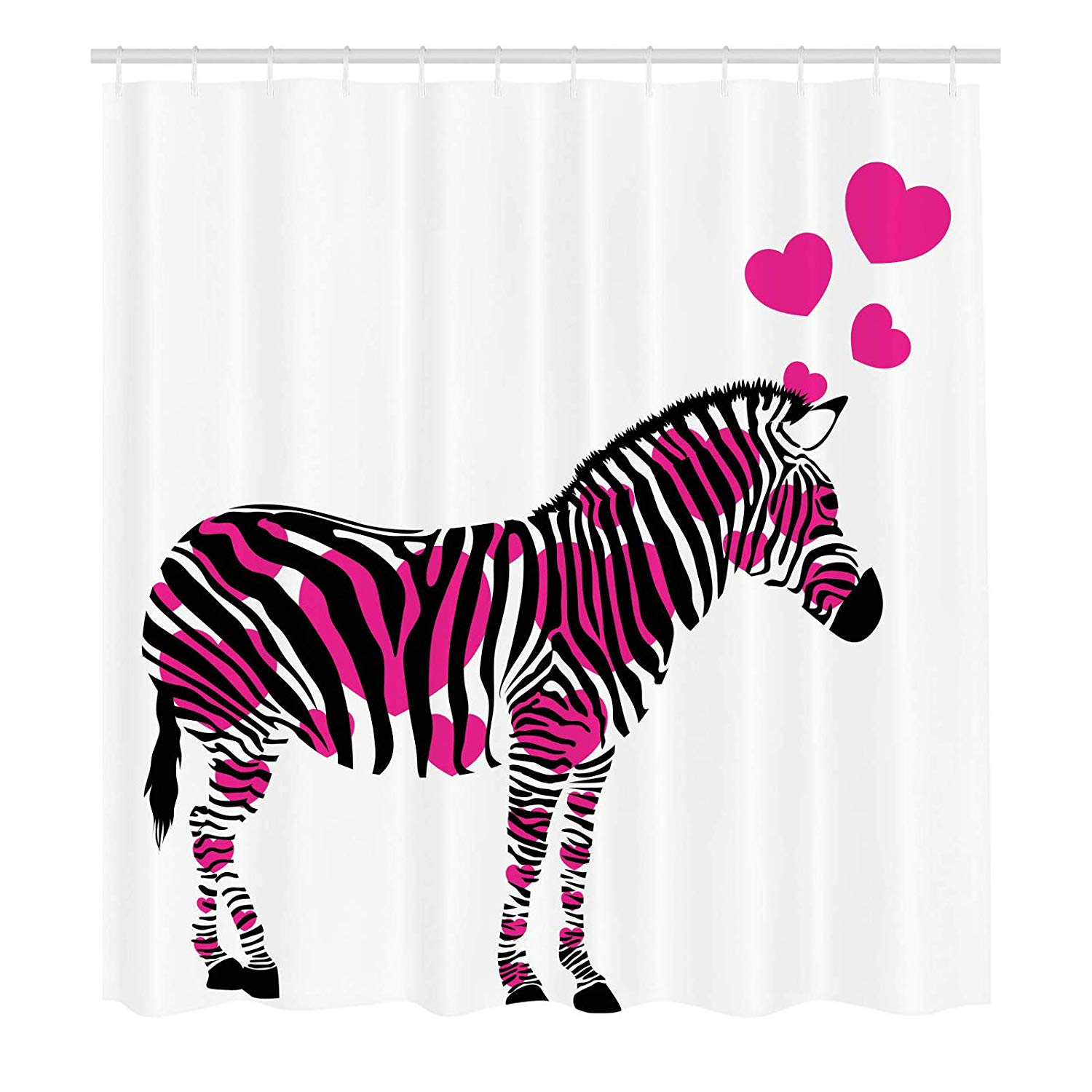 Amazon.com: Laibao Pink Zebra Shower Curtain, Zebra in Love.