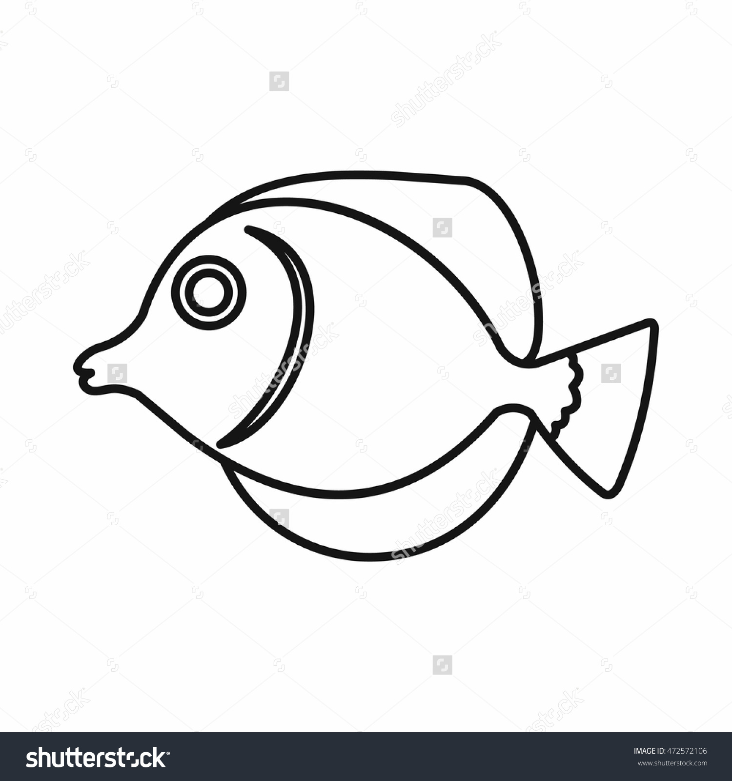 Tang Fish Zebrasoma Flavescens Icon Outline Stock Illustration.