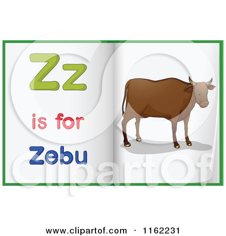 Cartoon of Alphabet Letter Z Is for Zebu Pages.