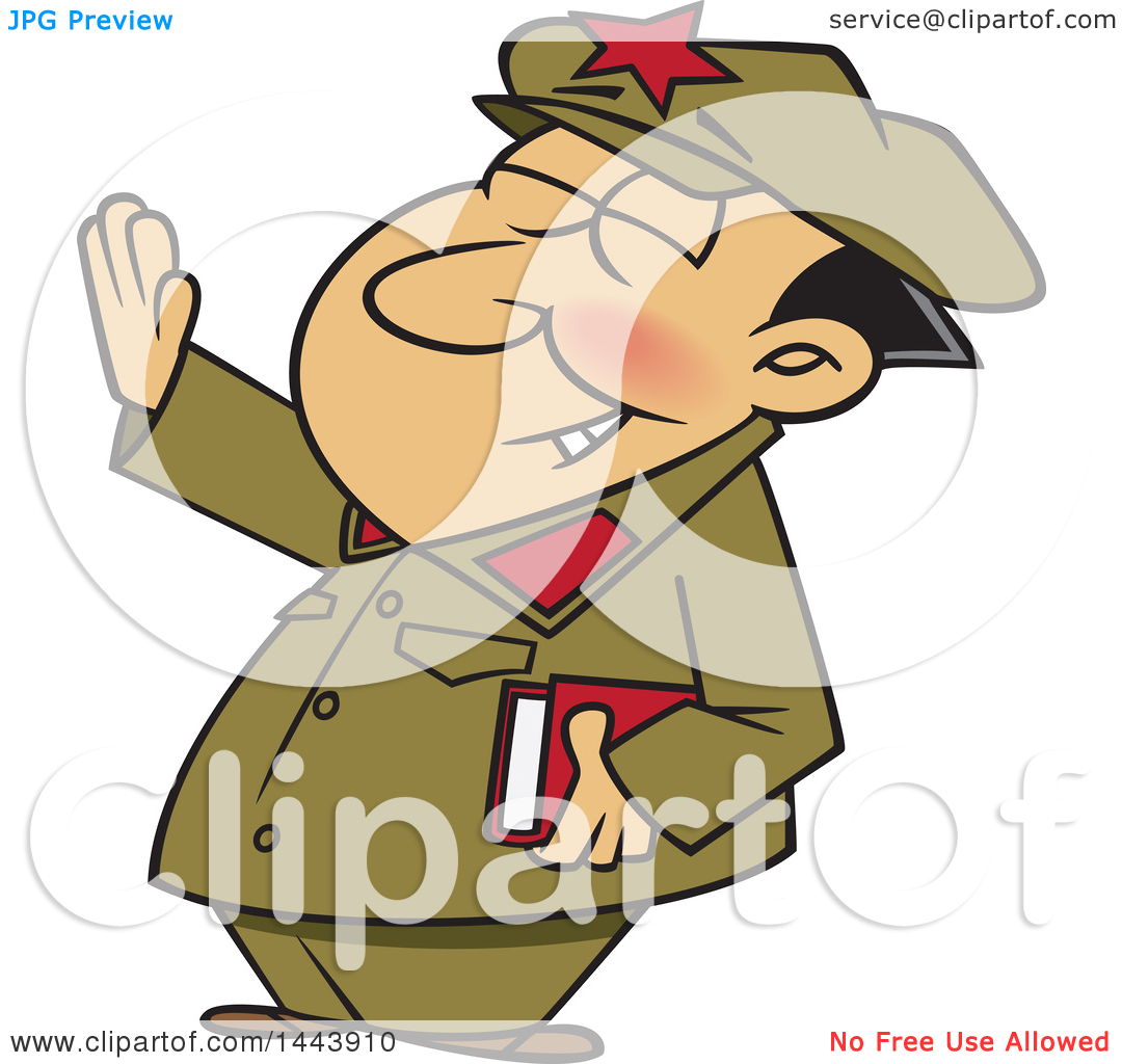 Clipart of a Cartoon Man, Mao Zedong, Holding up an Arm.
