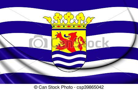 Stock Photo of Flag of Zeeland, Netherlands. 3D Illustration.