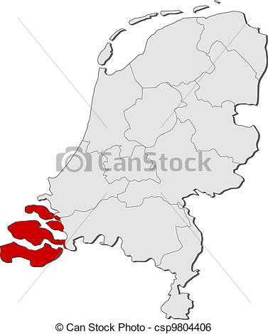 Clip Art Vector of Map of Netherlands, Zeeland highlighted.