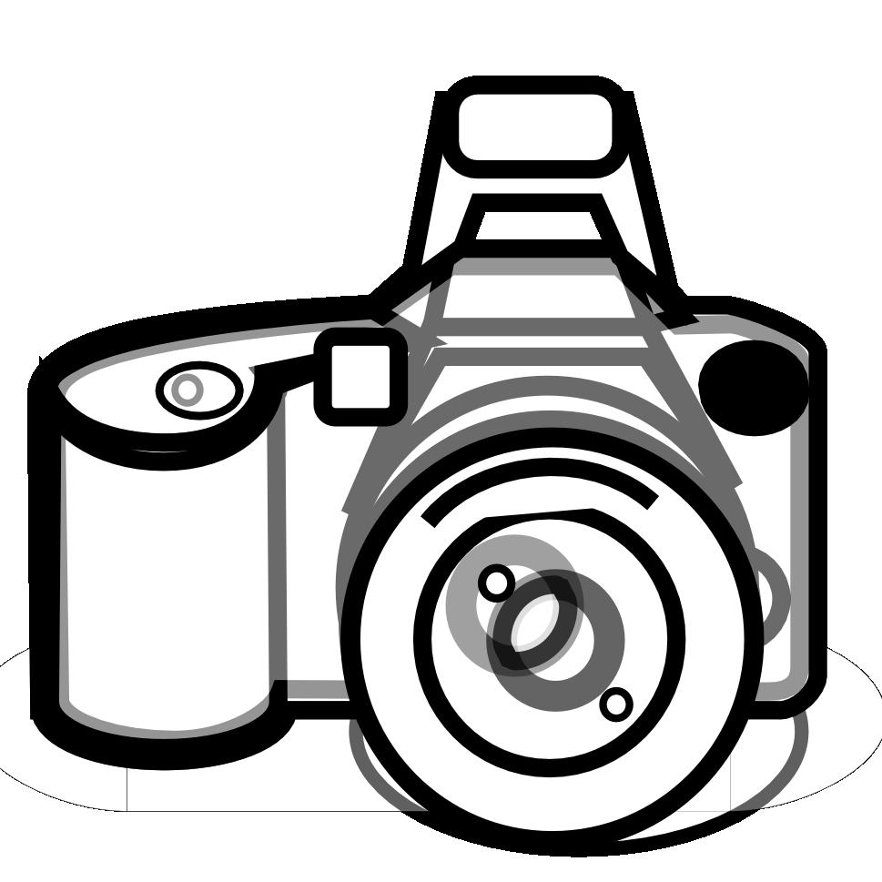 Camera outline clip art black and white.