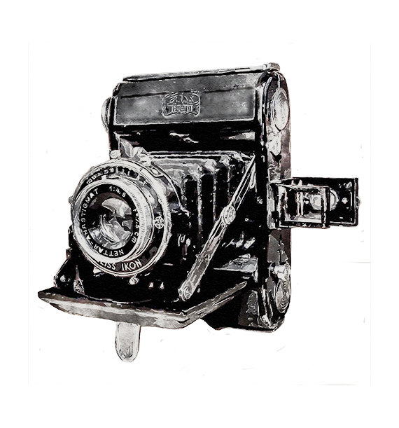 Vintage Watercolor Camera Zeiss Ikon Folding Camera by 641Digital.