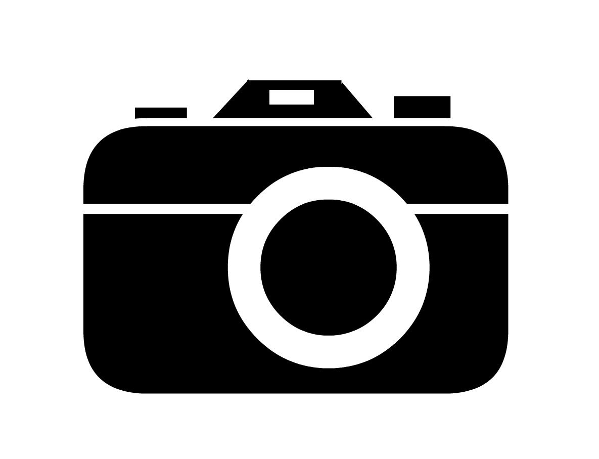 Camera outline clip art black and white.