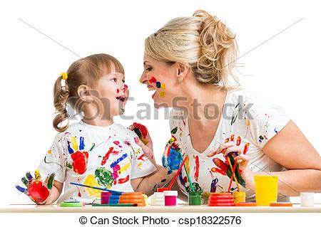 Bilder von Zeitvertreib, haben, Mutter, Spaß, gemälde, Kind.