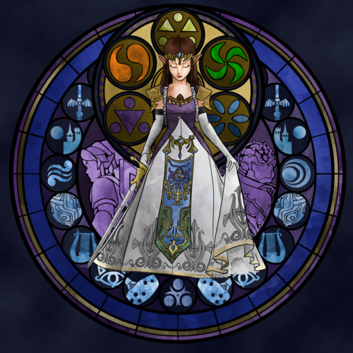 Princess Zelda stained glass. She\'s making an embroidery.