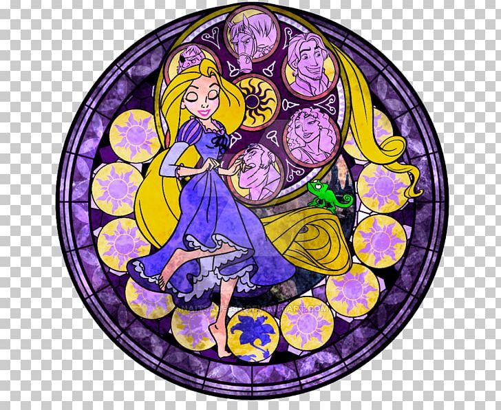 Stained Glass Kingdom Hearts III Rapunzel PNG, Clipart.
