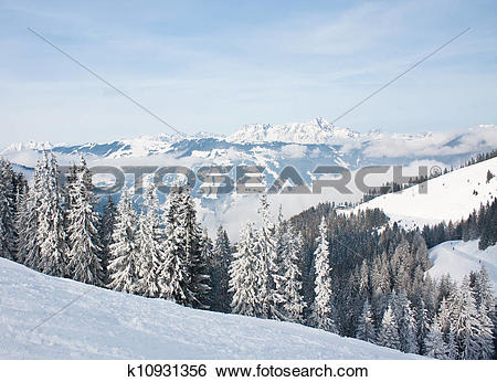 Stock Images of Mountains under snow. Ski resort Zell am See.