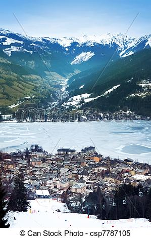 Stock Images of Aeral view down on Zell Am See (Austria, Alpes.