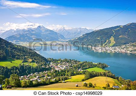 Stock Photo of Beautiful landscape with Alps and Zeller See in.