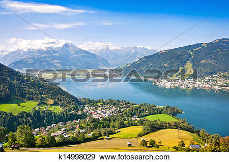 Stock Photograph of Beautiful landscape with Alps and Zeller See.