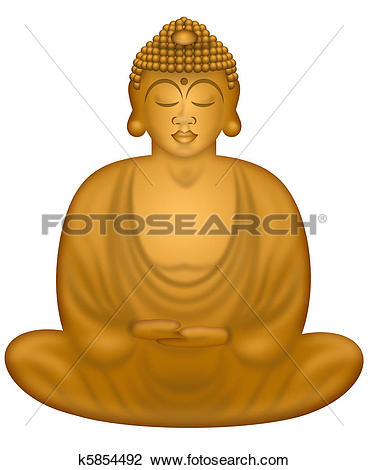 Clip Art of Zen Buddha in Sitting Position k5854492.