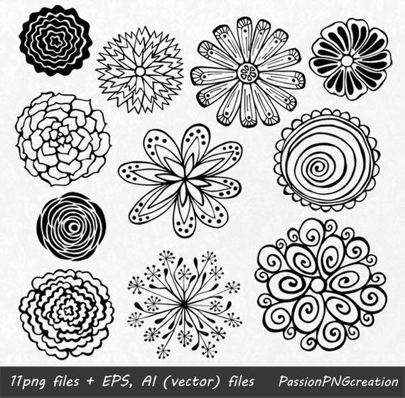 BIG SET! 44 Hand Drawn Flowers clipart, flower element.
