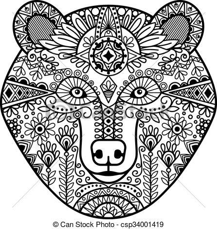 Vector Clip Art of Zentangle bear head. Hand drawn doodle bear.