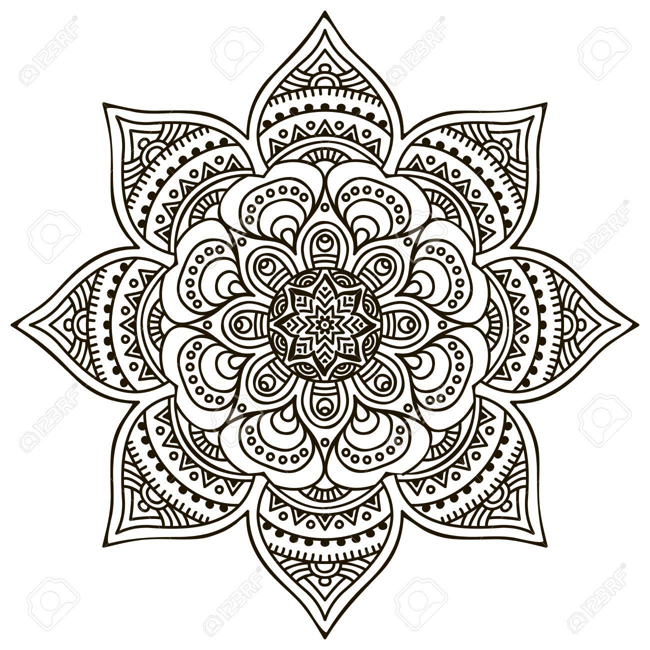 Brown round floral mandala, download royalty.