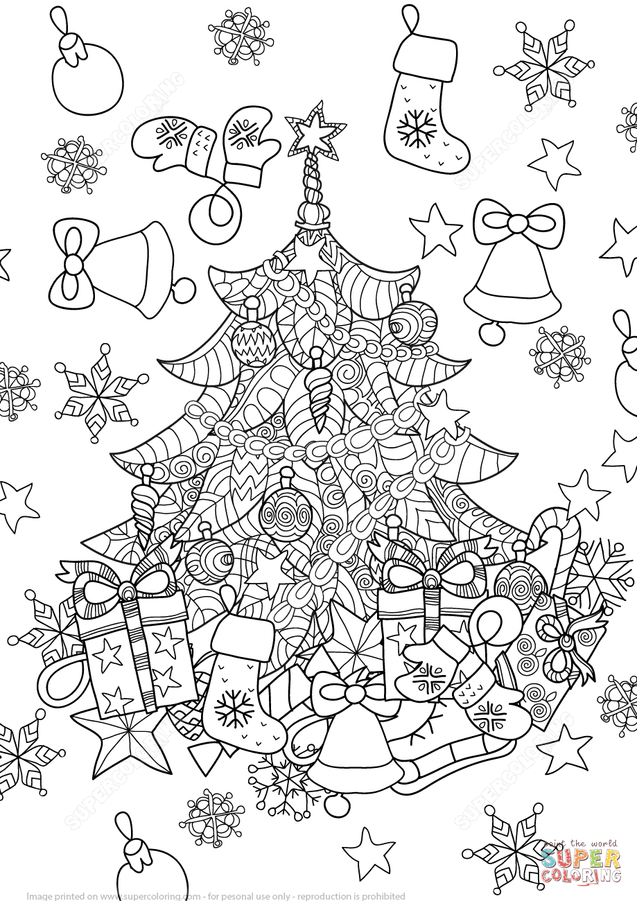 Christmas Tree Zentangle coloring page.