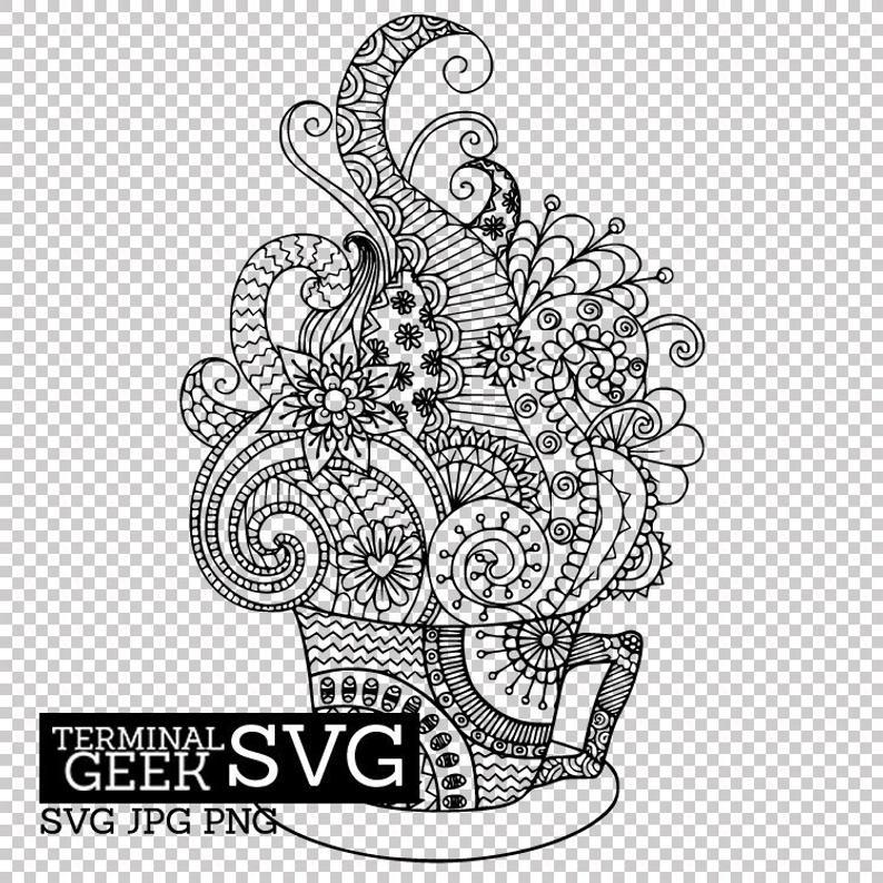 Coffee Cup Zentangle Mandala SVG PNG JPG Cricut Silhoutte.