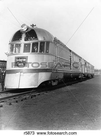 Stock Photo of 1930S Zephyr Train Engine Cars In Perspective.