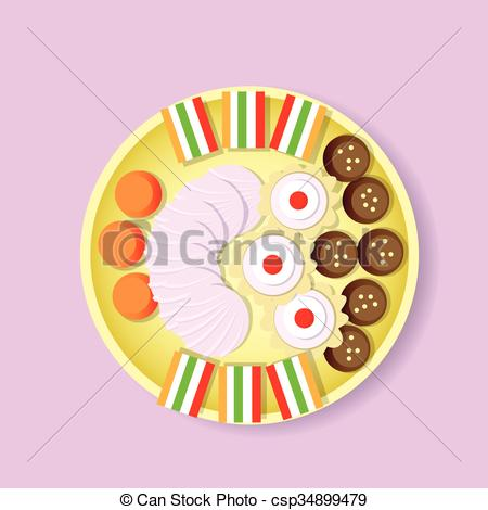 Vectors Illustration of Plate With Sweets Candy, Biscuit, Fruit.