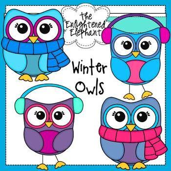 Free Winter Owls Clip Art.