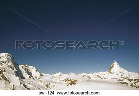 Stock Photo of St Bernard Dog the Matterhorn Zermatt Switzerland.