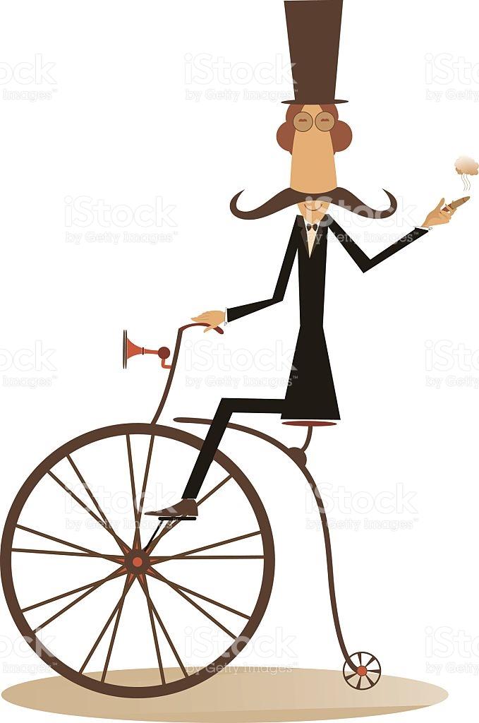 Cartoon Man Rides A Bike stock vector art 635876556.