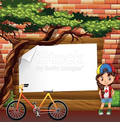 Border Design With Girl And Bike stock vector art 509681654.