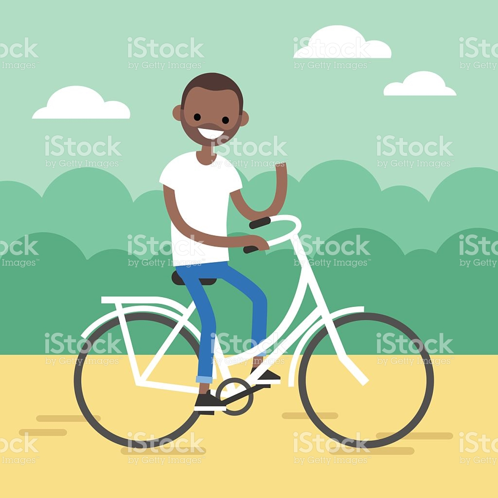 Young Black Man Riding A Bike And Waving His Hand stock vector art.