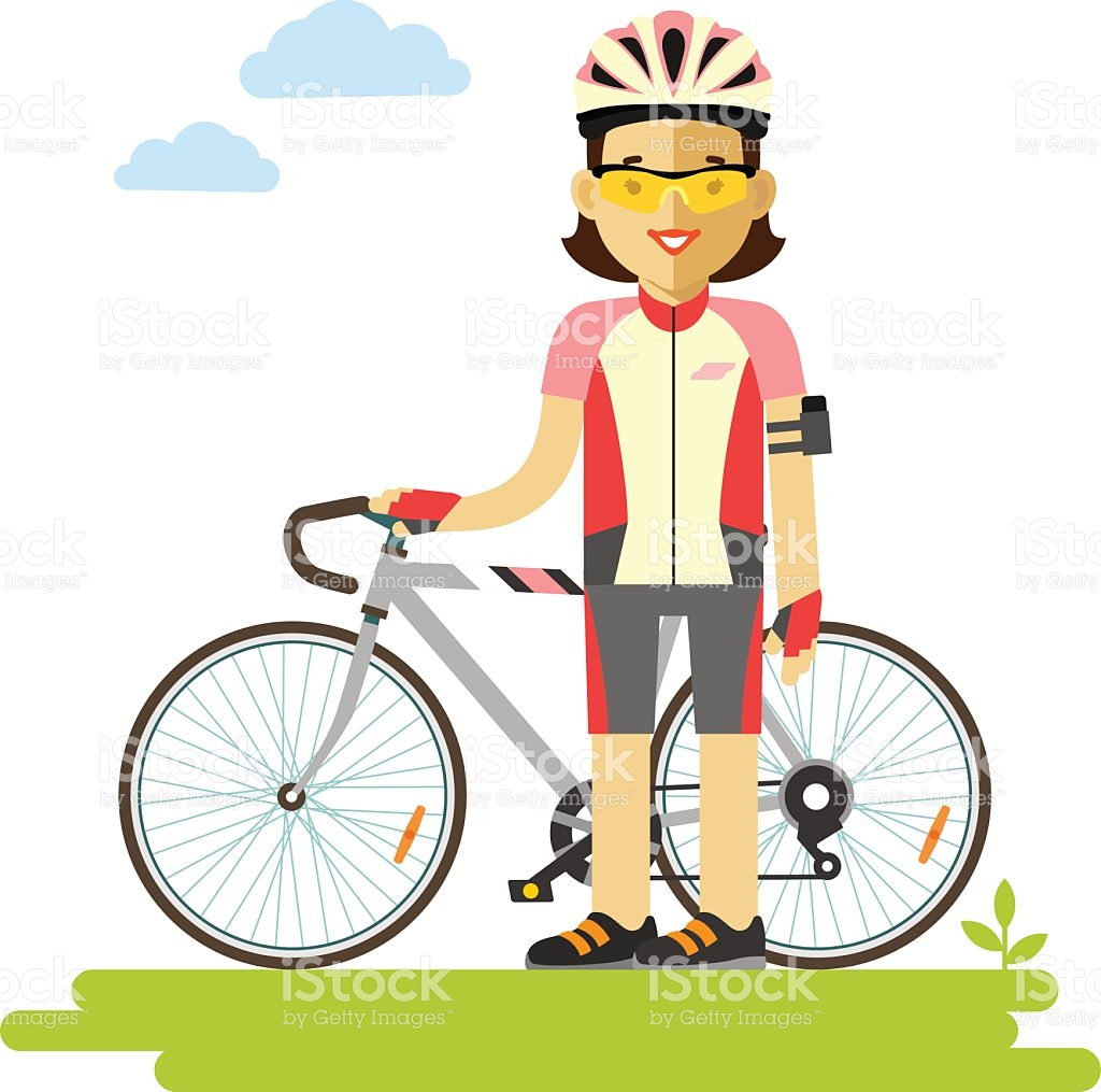 Young Racing Cyclist Woman With Bike In Flat Style stock vector.