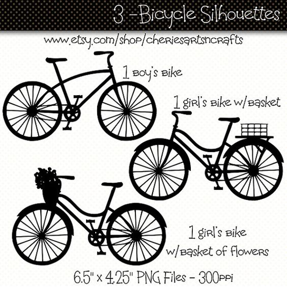 Bicycle Silhouettes Bicycle Clip Art Bike by CheriesArtsnCrafts.