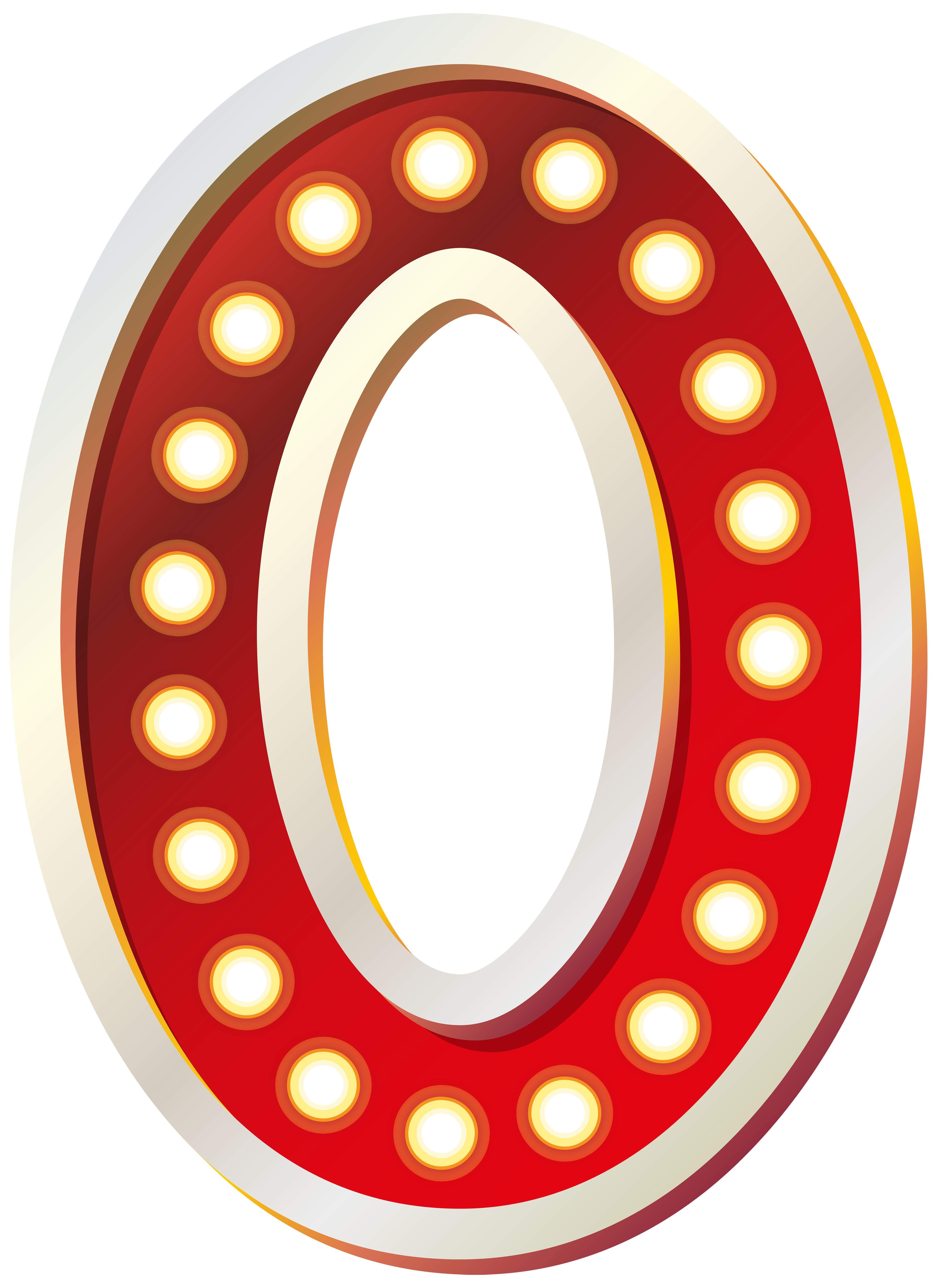 Red Number Zero with Lights PNG Clip Art Image.