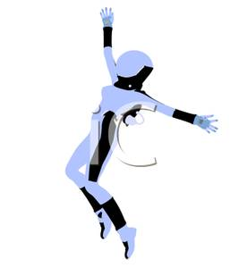 Female Pilot In Zero Gravity Clip Art Image.