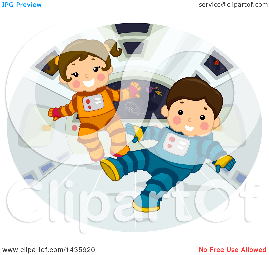 Clipart of Astronaut School Children Floating in Zero Gravity.