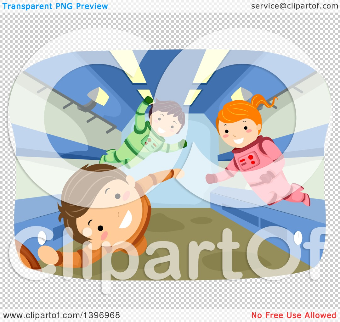 Clipart of Children Floating in Zero Gravity.