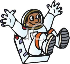African American Astronaut Jumping In Zero Gravity.