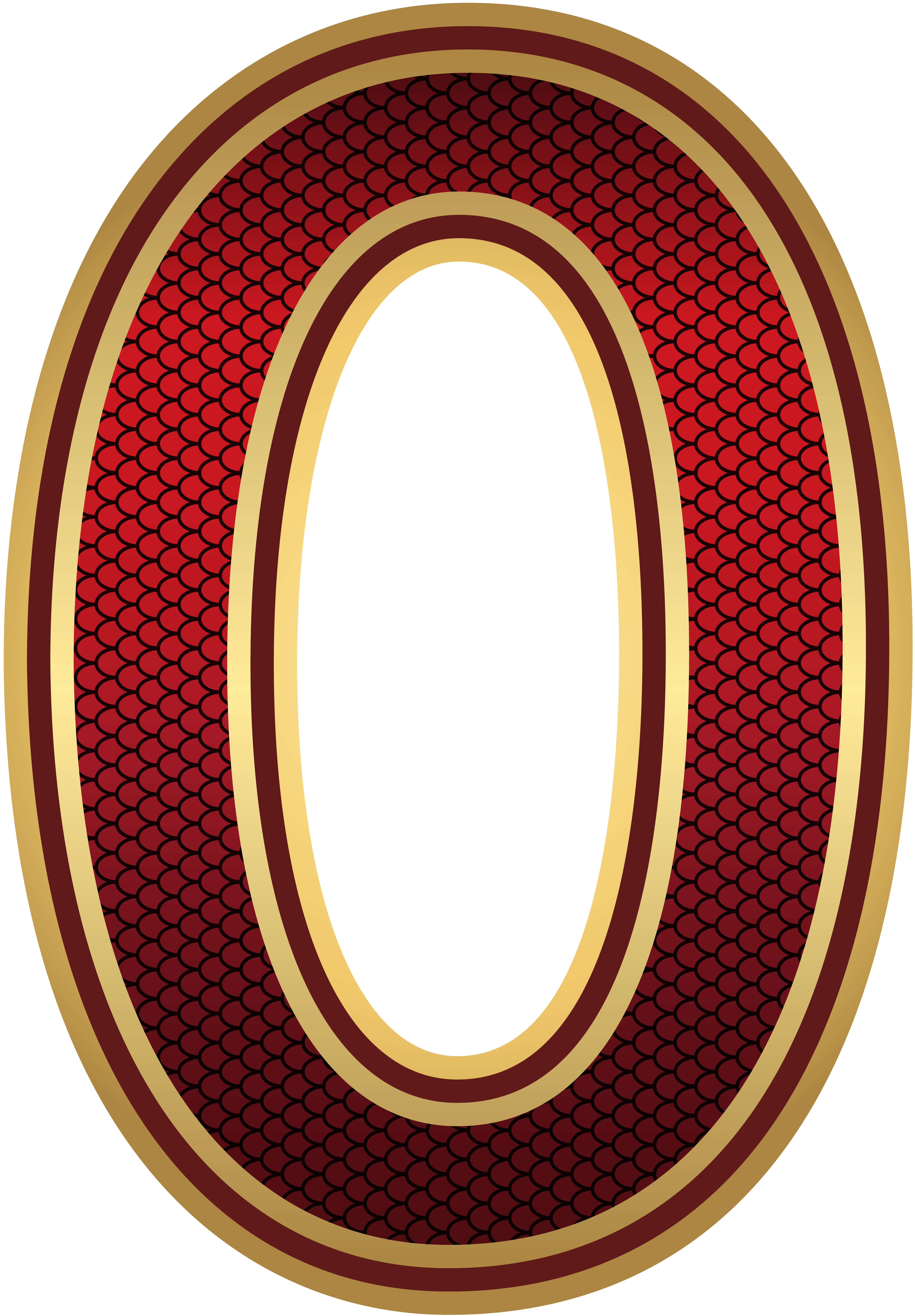 Red and Gold Number Zero PNG Image.