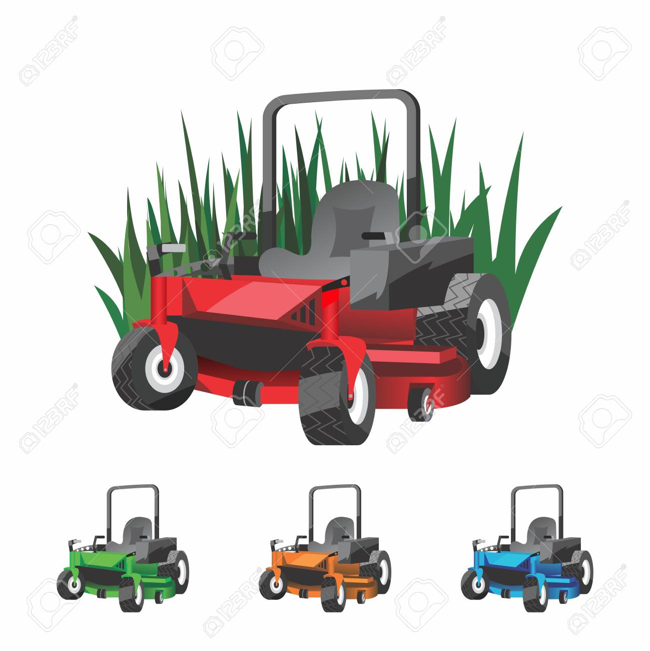 Vector Cartoon Zero Turn Lawnmower for Landscaping.