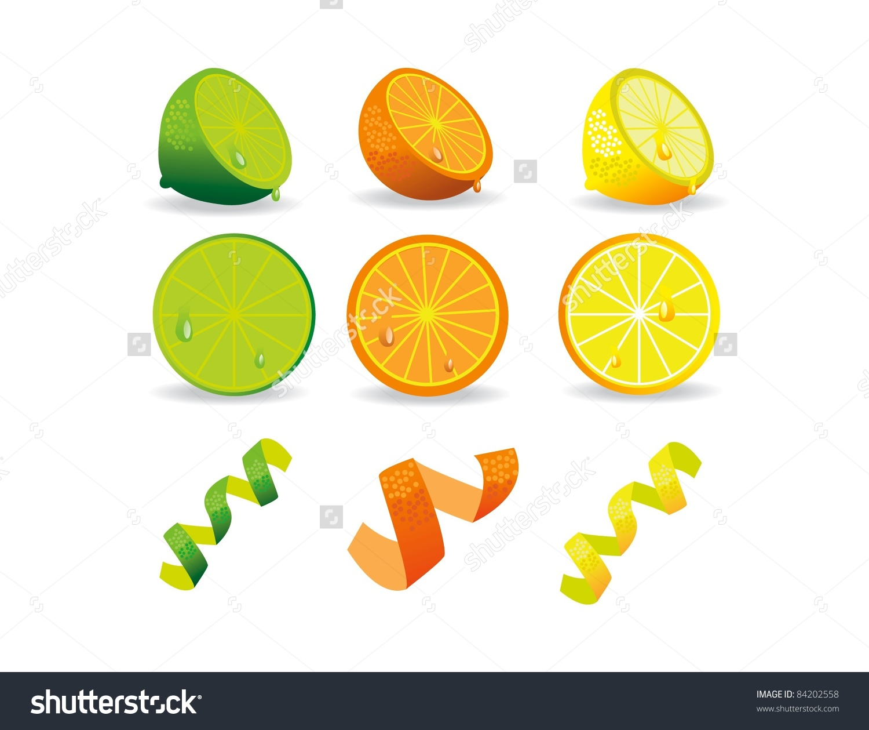Citrus Fruits Icons Lemon Lime Orange Stock Vector 84202558.