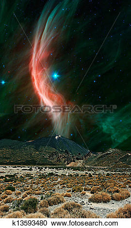 Stock Photography of An alien landscape with a large volcano and.