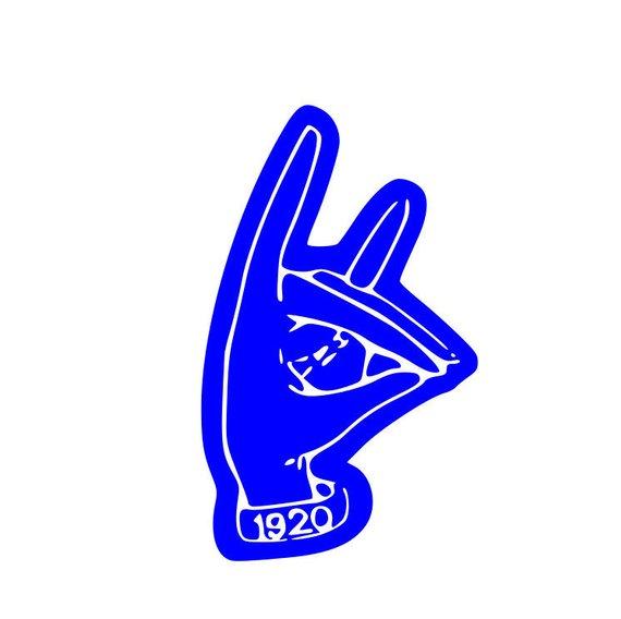 Zeta Phi Beta hand symbol.