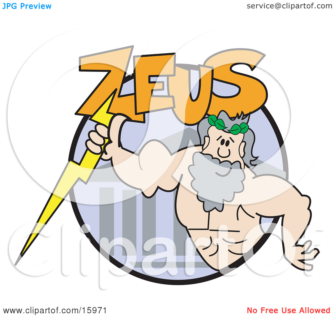 Strong Male Greek Good, Zeus Clipart Illustration by Andy Nortnik.