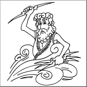 Clip Art: Cartoon Zeus B&W.