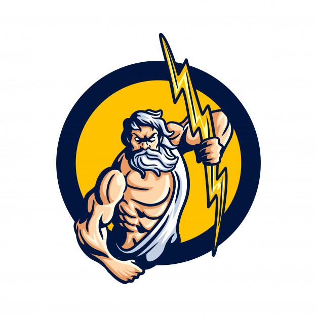 Powerful zeus mascot logo Vector.