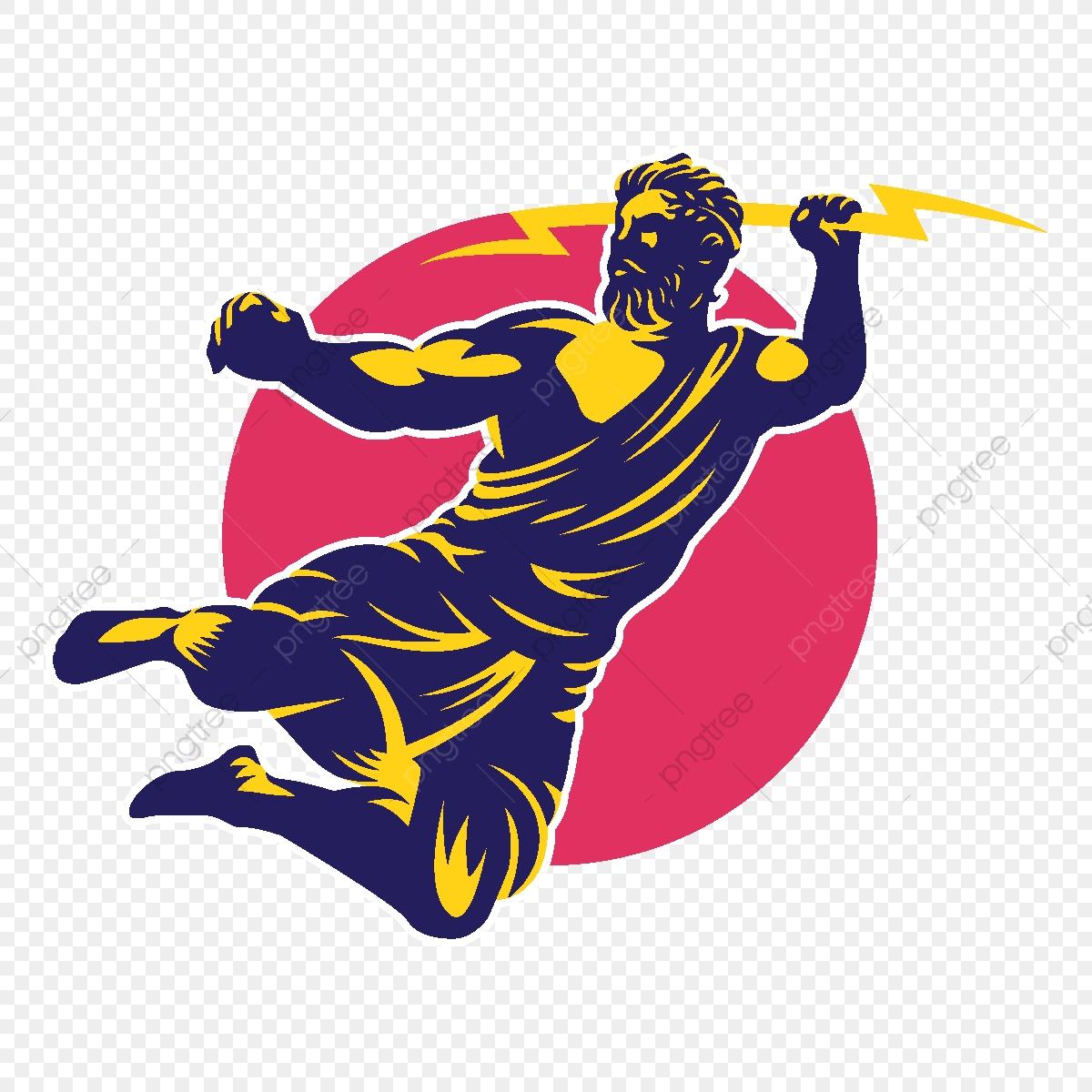Zeus Thunderbolt Gods Mascot Logo Template, Design, Illustration.