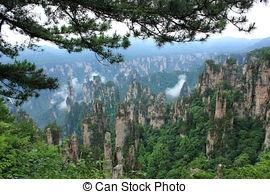 Stock Photo of Zhangjiajie National forest park China.