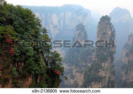 Stock Image of Zhangjiajie National Forest Park, Hunan, China. x8n.