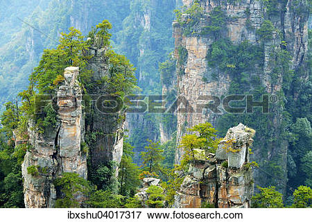 """Picture of """"Tianzishan mountain with vertical rock columns of."""